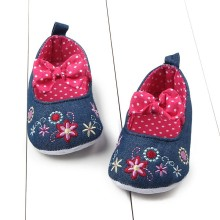 Lastest Printed Infant Baby Girls Shoes Flower Bowknot Soft Sole Crib Anti-slip Shoes For Prewalkers 0-12M