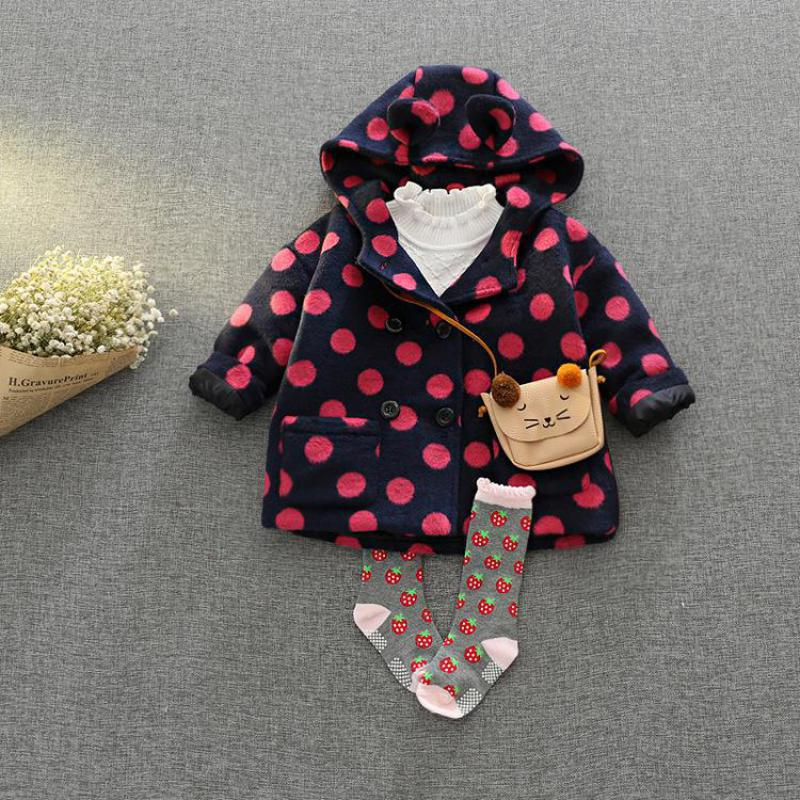 LSK264 Baby Girls Coat Fleeced polka dot Kids Winter Jacket Red Toddler Winter Coat 2017 Brand New Outerwear Girls Clothes<br>