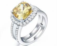 Solid White Gold Ring 3CT Jewelry Golden 9*9mm Cushion Shape Diamond Pillow Golden Engagement 14K Gold Ring Women