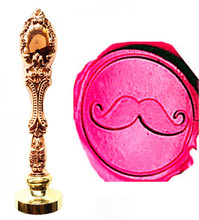 Vintage Funny Mustache Luxury Wax Seal Sealing Stamp Brass Peacock Metal Handle Gift Set Custom Picture Logo(China)