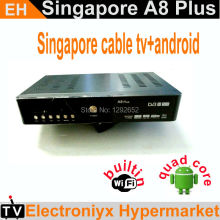 1PCS DHL starhub box A8 Plus+Android 4.4 Quad Core TV Box Support 4K H265 KODI iptv singapore 300+chnl fm Streambox IP-9999