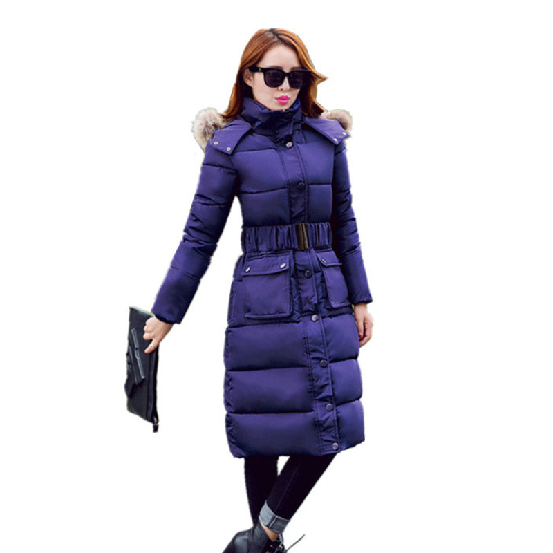 2016 New Women Winter X-Long Jacket Coat Korean Slim Fur Collar Hooded Down Coat Female Was Thin Waist Cotton Clothing  C368Одежда и ак�е��уары<br><br><br>Aliexpress