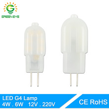Green eye 10pcs/lot 12V 220V dimmable G4 LED Lamp LED Bulb 4W 6W DC/AC LED G4 360 Angle Chandelier Replace Halogen Lamp Light(China)