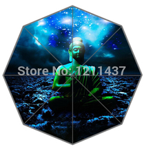 Novelty Gift Good Quality Sun Rain Umbrella 2015 Best Buddha Sitting On The Galaxy Clouds Portable Foldable Umbrellas(China)