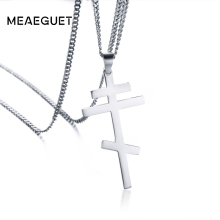 Meaeguet Russian Orthodox Cross Pendant For Men Women Christian Crucifix Male Church Eternal Church Inspirational NIKA Necklace(China)
