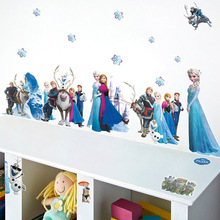 &% Cartoon Snow Queen Wall Stickers Elsa Anna Snowflake Wall Decal Poster Girls Gift Nursery Home Decor Vinyl 3D Animation Mural
