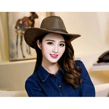 Lanshifei Europe & United States unisex hat summer outdoor Western Cowboy Hat For Womem Men Wide Brim Cowgirl Braid Leather Band