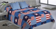2016 Behome Free Shipping Blue Star US flag textile bedding quilt cover 200 * 230 cm(China)