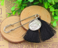 P008-021 Free Shipping 10PC/Lot  fashion girls unique scarf pin jewlery black tassel handmade coin safety pins brooch