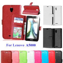 Luxury PU Leather Cover Case For Lenovo A 5000 Skin Phone Case With Card Holder Flip Back Cover Standard For Lenovo A5000 Case