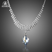 AZORA Luxury Fashion Jewelry Waterdrop Stellux Austrian Crystal&Tiny CZ Pendant Necklace TN0163