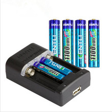 New KENTLI 6pcs 1.5v 1100mAh Lithium-ion Polymer Rechargeable Battery Charger AAA Batteries Pack + Intelligent Fast Charger