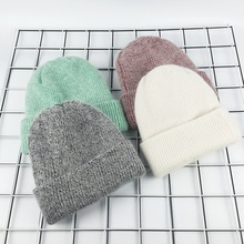 2017 New Winter Hat for Women Rabbit Cashmere Knitted Beanies Thick Warm Vogue Ladies Wool Angora Hat Female Beanie Hats(China)