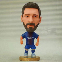 Soccerwe 2017-18 Season Series 6.5 cm Height Resin Football Doll Star 10 Messi Figure BC Blue Red(China)