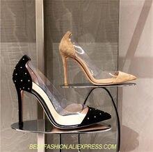 Oro Con Borchie In Pelle Scamosciata Con Plexiglass Trasparente IN PVC  Tacchi Alti Scarpe Donna Scarpe 33623f58f9b