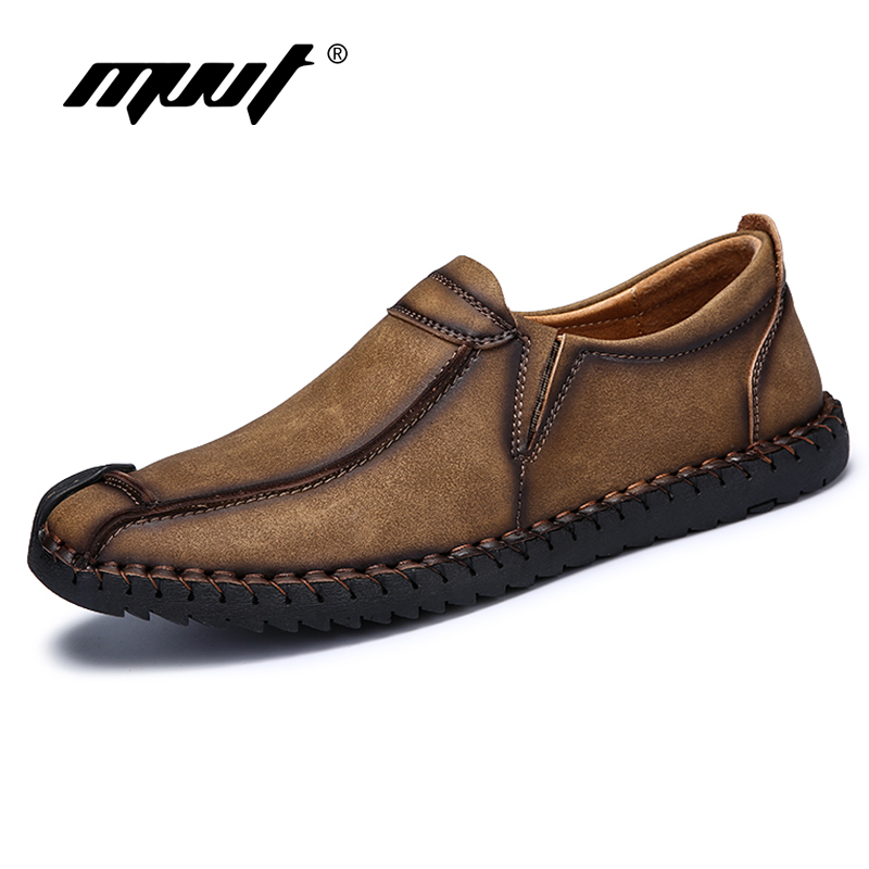 High quality Men shoes Real leather shoes Comfortable Casual shoes Slip-On Men Flats Loafers shoes for men<br>