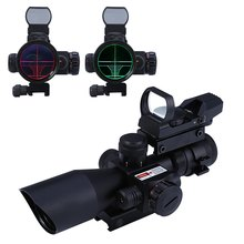 2016 Hunting 2.5 - 10X40 Tactical Optics Riflescope Red dot sight / Green Laser Dual Illuminated Scope Mil-dot 20mm Rail Mount(China)