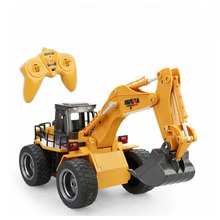 Huina Toys 1530 Six Channel 6ch 1/12 Rc Metal Excavator Remote Control Toys With Charging Battery Kids Toys Christmas Gifts(China)