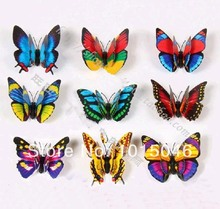 Free Shipping 60X Bistratal 3D Artificial Butterfly Decorations Magnets Craft Fridge Room Wall Decor