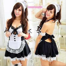 Buy Sexy Costume 2017 Sexy Lingerie Hot Womens Sexy V-Neck Erotic Uniform Lingerie Maid Cosplay Costume Set Sexy Babydoll
