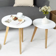 Small side table coffee table Lobby furniture desk magazine table White bamboo natural color(China)