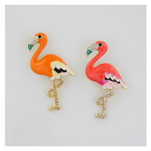 2017 new fashion oil-drawing flamingo brooches for women enamel bird brooch pin Can be used for pendant brosche bijouterie B7001