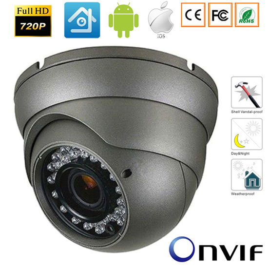 CCTV 1.0MP 1.3MP/2.0MP Dome Outdoor HD IP Camera P2P Network Waterprooof Camera with PC&amp;Mobile Phone View Onvif<br>