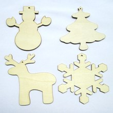 10pcs/bag Blank unfinished Christmas crafts supply laser cutting wood to marry Christmas ornaments holiday decorations 171215(China)