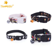 TAONMEISU Halloween Pet Dog Collar Nylon Bat Skeleton Pumpkin Ghost Style with Bell Size S L High Quality Newest 1pcs 2016
