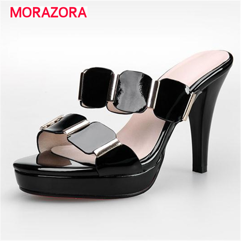 MORAZORA Genuine leather high heels shoes summer platform party shoes woman sandals big size 34-40 solid contracted<br>