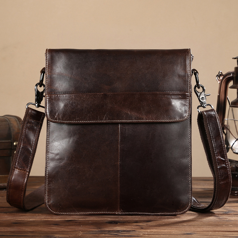 Fashion Genuine Leather Mens Handbag Cow Briefcase Man Cross Body Bag Messenger Shoulder Bags Cowhide Male Pocket LS0208<br>