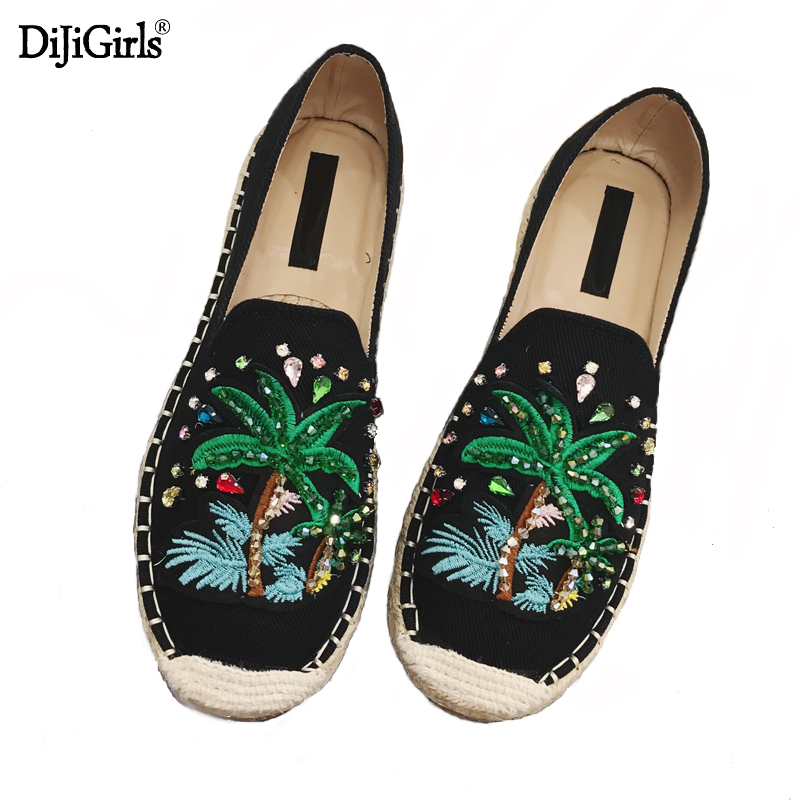 2017 Womens Esapdrilles Casual flat Shoes Breathable Flax Hemp Canvas espadrilles Slip-on Cotton sewing shoes embroidered <br>