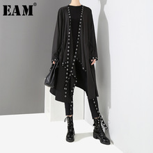 Buy EAM 2018 New Autumn Winter V-collar Long Sleeve Black Metal Ring Ribbon Stitch Big Size Jacket Women Coat Fashion Tide JH369 for $23.24 in AliExpress store