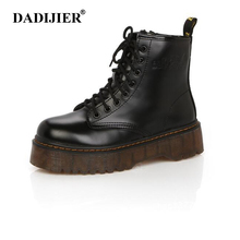 패션 Women Boots 봄 가 오토바이 발목 플랫폼 Boots 숙 녀 Boots Black PU Leather Shoes Women Martin Boots ST331(China)