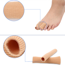 New 1pc 10cm Fabric Gel Tube Ribbed Bandage Finger and Toe Protector Hand Foot Pain Relief Cover for Corns Feet Can Cilp Length(China)