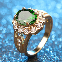 Buy Hot 2016 Fashion Oval Green Gem Ring Gold Color Mosaic White Crystal Beautiful Woman Accessories Wholesale for $1.59 in AliExpress store