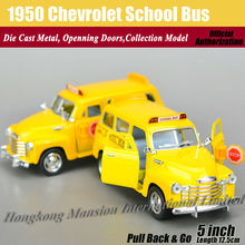 1:36 Scale Diecast Alloy Metal Classic Car Model For 1950 Chevrolet School Bus Collection Model Pull Back Toys Car - Yellow(China)