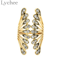 Lychee Gothic Punk Gold Silver Color Crystal Wings Ring Bling Bling Rhinestone Angel Wings Finger Ring Jewelry for Women Girl