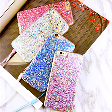 Fashion Glitter Bling Case For iphone 7 Case For iphone7 6 6S Plus Phone Cases Cute Candy Colorful Shining Back Cover with Rope