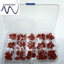 Free Shipping 300 Pcs OD(6.5~16mm) Thickness (1.5~2mm) Red Silicone Oring Set High Quality  O ring Box Edible Silicone