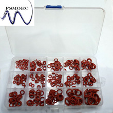 Free Shipping 300 Pcs OD(6.5~16mm) Thickness (1.5~2mm) Red Silicone Oring Set High Quality O ring Box Edible Silicone(China)