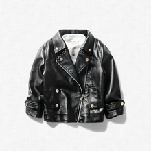 Boy Girls leather jacket spring autumn new children's clothing lapel motorcycle pu leather baby shirt children's leather(China)