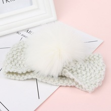 Girls Fur Ball Knitting Hairband Hot Sale Children Fashion Headwrap Kids Winter Warm Hair Accessories Christmas Gift White(China)