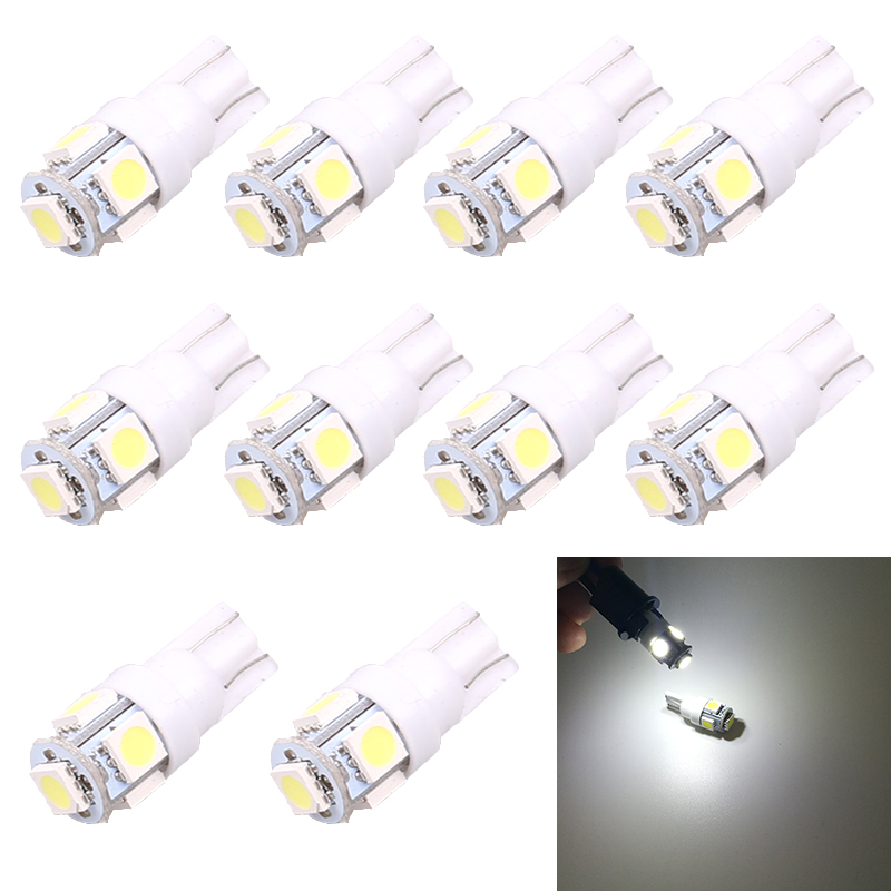 10X T10 W5W 5SMD 5050 Light Car Side Wedge Light Automotive T10 LED Light Bulbs Replacement Parts Car License Plate Reading Lamp(China (Mainland))