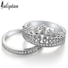 Iutopian Brand Luxurious Double Bands Crown Engagement Rings Set For Women AAA CZ Anti Allergy Environmental Alloy #87180