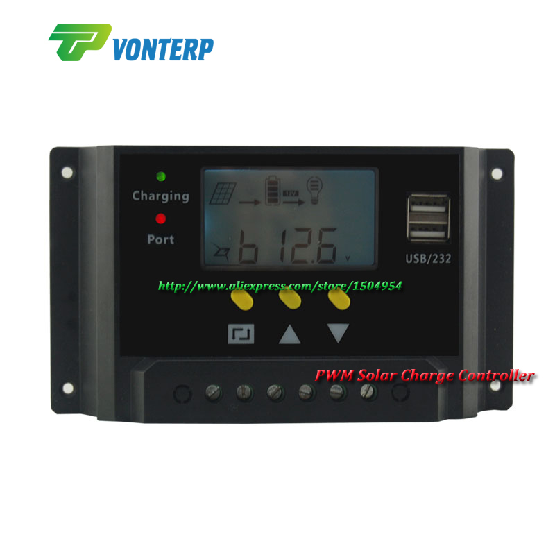Lastest 10A 12V/24V Intelligent solar charge and discharge controller with PWM function &amp;  LCD Display<br><br>Aliexpress