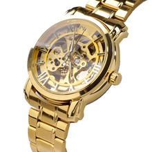 Classic Mens Watch Gold Dial Mechanical Automatic Self-Winding Hollow Watch Steel Band Roman Quartz Watch Relogio Masculino(China)