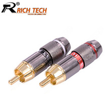 10pcs/lot RCA Connector gold plated Wire Connector 6mm cable RCA male plug professional speaker audio adapter 5 Pairs Red+Black(China)