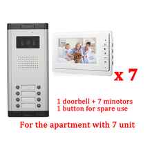 "Apartment 7 Unit Intercom Entry System Wired Video Door Phone Audio Visual 7"" LCD 1 HD Outdoor Camera With 7 monitor"
