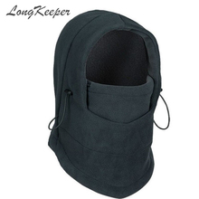 LongKeeper Thermal Fleece Balaclava Hat Hooded Neck Warmer Winter Face Mask for Men Helmet Beanies Masked Caps